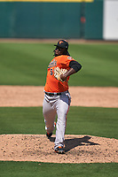 Baltimore Orioles pitcher Felix Bautista (52) during a Minor League Spring Training game against the Detroit Tigers on April 14, 2021 at Joker Marchant Stadium in Lakeland, Florida.  (Mike Janes/Four Seam Images)