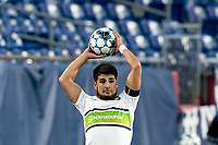 FOXBOROUGH, MA - AUGUST 26: Cesar Murillo #4 of Greenville Triumph SC throw in during a game between Greenville Triumph SC and New England Revolution II at Gillette Stadium on August 26, 2020 in Foxborough, Massachusetts.
