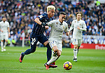 Real Madrid's Lucas Vazquez and Malaga CF's Adalberto Peñaranda Maestre during La Liga match between Real Madrid and Malaga CF at Santiago Bernabeu Stadium in Madrid, Spain. January 21, 2017. (ALTERPHOTOS/BorjaB.Hojas)