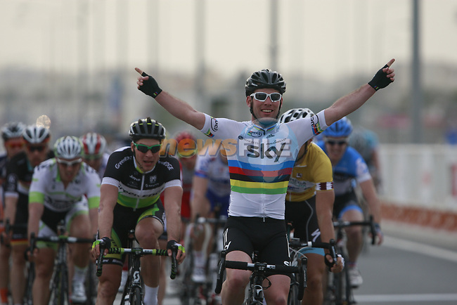 World Champion Mark Cavendish (GBR) Sky Procycling wins Stage 3 of the 2012 Tour of Qatar running 146.5km from Dukhan Souq, Dukhan to Al Gharafa, Qatar. 7th February 2012.<br /> (Photo Eoin Clarke/Newsfile)