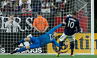 Foxborough, Massachusetts - May 30, 2018: In a Major League Soccer (MLS) match, New England Revolution (blue/white) tied Atlanta United FC (white), 1-1, at Gillette Stadium.<br /> Goal.
