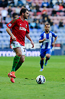 Tuesday, 7 May 2013<br /> <br /> Pictured: ?ngel Rangel of Swansea City<br /> <br /> Re: Barclays Premier League Wigan Athletic v Swansea City FC  at the DW Stadium, Wigan