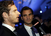 Roger Federer of Switzerland and Andy Murray of Great Britain chat at the Official Launch of the ATP World Tour Finals at City Hall, London, 2015