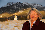 Crestone matriarch, and founder of the Manitou Foundation, Hanne Strong at the site of a local stupa at the foothills below the Sangre de Cristo mountain range. Michael Brands for The New York Times.