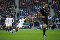 Owen Farrell of England takes a penalty kick during the QBE Autumn International match between England and New Zealand at Twickenham on Saturday 01 December 2012 (Photo by Rob Munro)