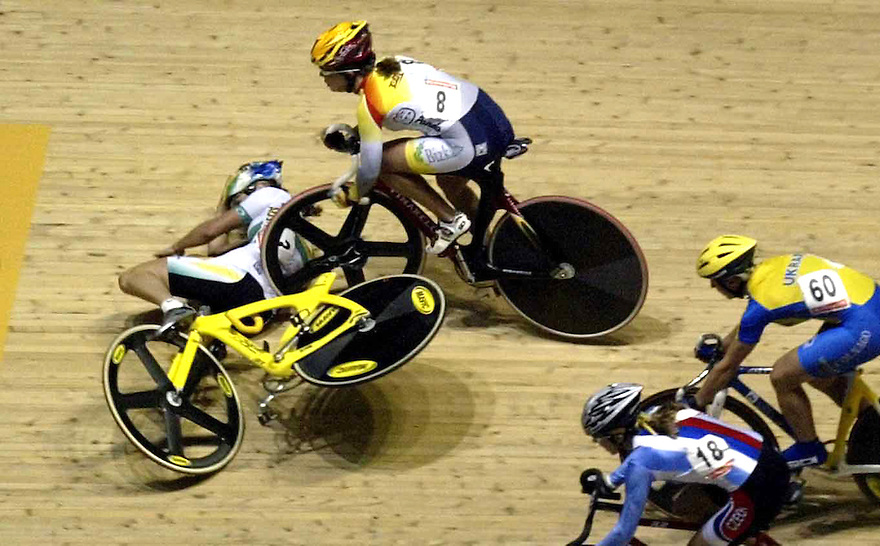 World track cycling championships, Melbourne.  Australia's Rochelle Gilmour (on ground)  is hit by Gema Pascual Torrecilla of Spain during the 15 km scratch race.  - pic by Trevor Collens
