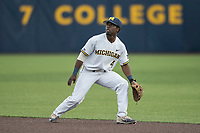 Michigan Wolverines second baseman Ako Thomas (4) on defense against the Michigan State Spartans during the NCAA baseball game on April 18, 2017 at Ray Fisher Stadium in Ann Arbor, Michigan. Michigan defeated Michigan State 12-4. (Andrew Woolley/Four Seam Images)