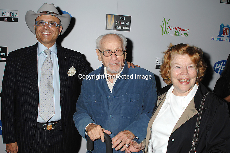"""Joe Pantoliano, Eli Wallach and wife Anne Jackson..posing for photographers at The New York Premiere of ..""""Canvas"""" starring Marcia Gay Harden and Joe Pantoliano..on October 9, 2007 at The French Institute. ....photo by Robin Platzer, Twin Images....212-935-0770"""