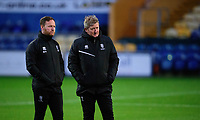 Lincoln City's first team development coach Richard O'Donnell, left, and Lincoln City's assistant manager David Kerslake during the pre-match warm-up<br /> <br /> Photographer Andrew Vaughan/CameraSport<br /> <br /> EFL Trophy Northern Section Group E - Mansfield Town v Lincoln City - Tuesday 6th October 2020 - Field Mill - Mansfield  <br />  <br /> World Copyright © 2020 CameraSport. All rights reserved. 43 Linden Ave. Countesthorpe. Leicester. England. LE8 5PG - Tel: +44 (0) 116 277 4147 - admin@camerasport.com - www.camerasport.com
