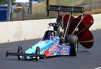 Jul. 20, 2013; Morrison, CO, USA: NHRA top fuel dragster driver Mike Strasburg during qualifying for the Mile High Nationals at Bandimere Speedway. Mandatory Credit: Mark J. Rebilas-