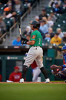 Norfolk Tides Christopher Bostick (1) bats during an International League game against the Buffalo Bisons on June 21, 2019 at Sahlen Field in Buffalo, New York.  Buffalo defeated Norfolk 1-0, the second game of a doubleheader.  (Mike Janes/Four Seam Images)