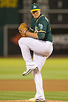 Jim Johnson winds up to deliver a pitch.<br /> Boston Red Sox at Oakland A's at O.Co coliseum in Oakland, June 20, 2014