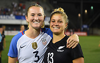 Cincinnati, OH - Tuesday September 19, 2017: Samantha Mewis, Rosie White during an International friendly match between the women's National teams of the United States (USA) and New Zealand (NZL) at Nippert Stadium.