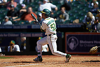 Esteban Cardoza-Oquendo (52) of the Baylor Bears follows through on his swing against the Missouri Tigers in game one of the 2020 Shriners Hospitals for Children College Classic at Minute Maid Park on February 28, 2020 in Houston, Texas. The Bears defeated the Tigers 4-2. (Brian Westerholt/Four Seam Images)