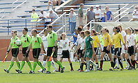 Referees lead players onto pitch..Saint Louis Athletica and LA Sol, played to a 0-0 tie at Robert Hermann Stadium in St Louis, MO. April 25 2009.