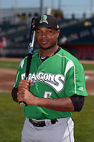 Dayton Dragons outfielder Phillip Ervin (6) poses for a photo before a game against the Lansing Lugnuts on August 25, 2013 at Cooley Law School Stadium in Lansing, Michigan.  Dayton defeated Lansing 5-4 in 11 innings.  (Mike Janes/Four Seam Images)
