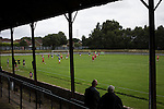 Vale of Leven 3 Ashfield 4, 03/09/2016. Millburn Park, West of Scotland League Central District Second Division. Spectators in the shed watching the first-half action at Millburn Park, Alexandria, as Vale of Leven (in blue) hosted Ashfield in a West of Scotland League Central District Second Division Junior fixture. Vale of Leven were one of the founder members of the Scottish League in 1890 and remained part of the SFA and League structure until 1929 when the original club folded, only to be resurrected as a member of the Scottish Junior Football Association after World War II. They lost the match to Ashfield by 4-3, having led 3-1 with 10 minutes remaining. Photo by Colin McPherson.