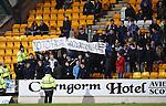 St Johnstone v Aberdeen...06.02.16   SPFL   McDiarmid Park, Perth<br /> Saints fans protest against facial recognition cameras<br /> Picture by Graeme Hart.<br /> Copyright Perthshire Picture Agency<br /> Tel: 01738 623350  Mobile: 07990 594431
