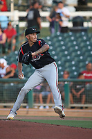Logan Gilbert (45) of the Stockton Ports pitches against the Inland Empire 66ers at San Manuel Stadium on May 26, 2019 in San Bernardino, California. (Larry Goren/Four Seam Images)
