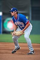 Auburn Doubledays first baseman Shawn Pleffner #18 during a NY-Penn League game against the Batavia Muckdogs at Dwyer Stadium on September 3, 2012 in Batavia, New York.  Auburn defeated Batavia 5-3.  (Mike Janes/Four Seam Images)