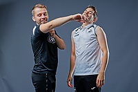 Pictured: L-R Adam Stepien and Ewan Donaldson. Thursday 29 August 2018<br />Re: Swansea City FC player and staff profile photo-shoot at Fairwood Training Ground, Wales, UK