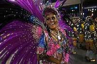 Sao Clemente samba school queen of drums, Raphaela Gomes, performs during parade at the Sambadrome, Rio de Janeiro, Brazil, March 2, 2014.  (Austral Foto/Renzo Gostoli)
