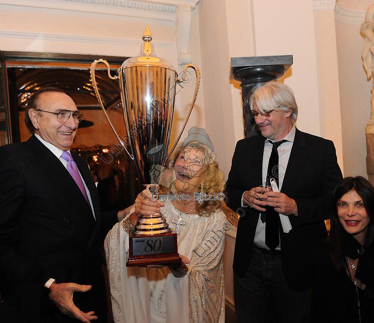 PIPPO BAUDO , MARTA MARZOTTO E RICKY TOGNAZZI<br /> FESTA DEGLI 80 ANNI DI MARTA MARZOTTO<br /> CASA CARRARO ROMA 2011