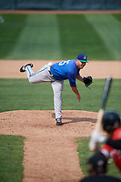 Hartford Yard Goats relief pitcher Matt Pierpont (55) delivers a pitch during a game against the Erie SeaWolves on August 6, 2017 at UPMC Park in Erie, Pennsylvania.  Erie defeated Hartford 9-5.  (Mike Janes/Four Seam Images)