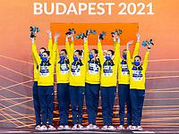 Gold Medal<br /> UKRAINE<br /> ALEKSIIVAMaryna/ALEKSIIVAVladyslava<br /> FIEDINAMarta/REZNIKKateryna<br /> SAVCHUKAnastasiya/SHYNKARENKOAlina<br /> SYDORENKOKseniya/YAKHNOYelyzaveta<br /> Team Free Final<br /> Artistic Swimming<br /> Budapest  - Hungary  14/5/2021<br /> Duna Arena<br /> XXXV LEN European Aquatic Championships<br /> Photo Pasquale Mesiano / Deepbluemedia / Insidefoto