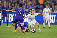 Orlando, FL - Saturday March 24, 2018: Utah Royals defender Katie Bowen (6) plays the ball from her knees during a regular season National Women's Soccer League (NWSL) match between the Orlando Pride and the Utah Royals FC at Orlando City Stadium. The game ended in a 1-1 draw.