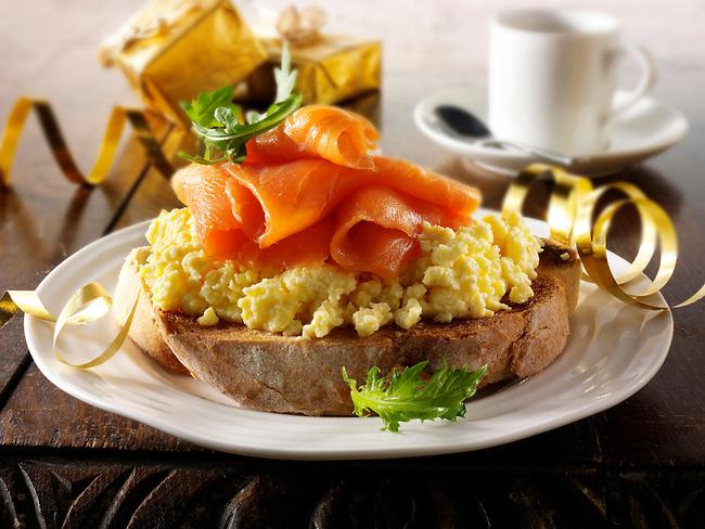 Smoked Salmon on scrambled egg bagel