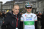 Irish National Champion Matt Brammeier (IRL) Omega Pharma-Quick Step with cycling legend and Eurosport TV commentator Sean Kelly (IRL) at sign on before the start of the 98th edition of Liege-Bastogne-Liege outside the Palais des Princes-Eveques, running 257.5km from Liege to Ans, Belgium. 22nd April 2012.  <br /> (Photo by Eoin Clarke/NEWSFILE).