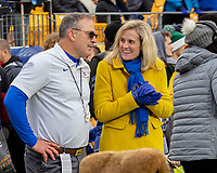 Pitt head football coach Pat Narduzzi and Athletic Director Heather Lyke meet before the game. . The Boston College Eagles defeated the Pitt Panthers 26-19 in the football game played at Heinz Field, Pittsburgh Pennsylvania on November 30, 2019.