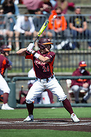 Kevin Madden (26) of the Virginia Tech Hokies at bat against the Boston College Eagles at English Field on April 3, 2021 in Blacksburg, Virginia. (Brian Westerholt/Four Seam Images)