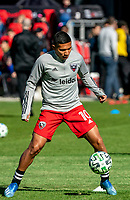 WASHINGTON, DC - MARCH 07: Edison Flores #10 of DC United warms up during a game between Inter Miami CF and D.C. United at Audi Field on March 07, 2020 in Washington, DC.