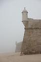 Exterior of the Fortaleza de Santiago, on a foggy morning, Sesimbra, Portugal.