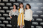 (L-R) Iraia Elias, Natalia de Molina and Paula Ortiz during a Loreal promotional presentation in Madrid, Spain. January 14, 2016. (ALTERPHOTOS/Victor Blanco)