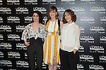 (L-R) Iraia Elias, Natalia de Molina and Paula Ortiz during a Loreal promotional presentation in Madrid, Spain. January 14, 2016. (ALTERPHOTOS/Victor Blanco)