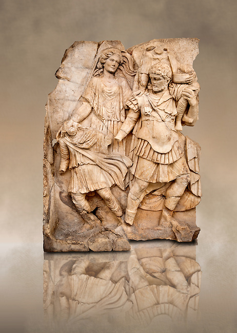 Photo of Roman releif sculpture of Aineas Fleeing Troy with his wife & children from the Oda first room, Aphrodisias, Turkey, Images of Roman art bas releifs. Buy as stock or photo art prints