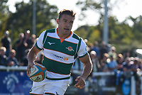 Seb Stegmann of Ealing Trailfinders celebrates scoring their 2nd try during the Greene King IPA Championship match between Ealing Trailfinders and Cornish Pirates at Castle Bar , West Ealing , England  on 29 September 2018. Photo by Match action Paul Paxford / PRiME Media Images.