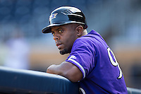Louisville Bats manager Delino DeShields (90) prior to the game against the Durham Bulls at Durham Bulls Athletic Park on August 9, 2015 in Durham, North Carolina.  The Bulls defeated the Bats 9-0.  (Brian Westerholt/Four Seam Images)