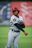 Mahoning Valley Scrappers third baseman Henderson De Oleo (17) during warmups before a NY-Penn League game against the Auburn Doubledays on August 27, 2019 at Falcon Park in Auburn, New York.  Auburn defeated Mahoning Valley 3-2 in ten innings.  (Mike Janes/Four Seam Images)