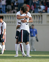 Oguchi Onyewu and Carlos Bocanegra celebrate the win. The USA defeated China, 4-1, in an international friendly at Spartan Stadium, San Jose, CA on June 2, 2007.