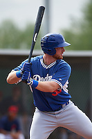 Los Angeles Dodgers Garrett Hope (30) during an instructional league game against the Cleveland Indians on October 15, 2015 at the Goodyear Ballpark Complex in Goodyear, Arizona.  (Mike Janes/Four Seam Images)