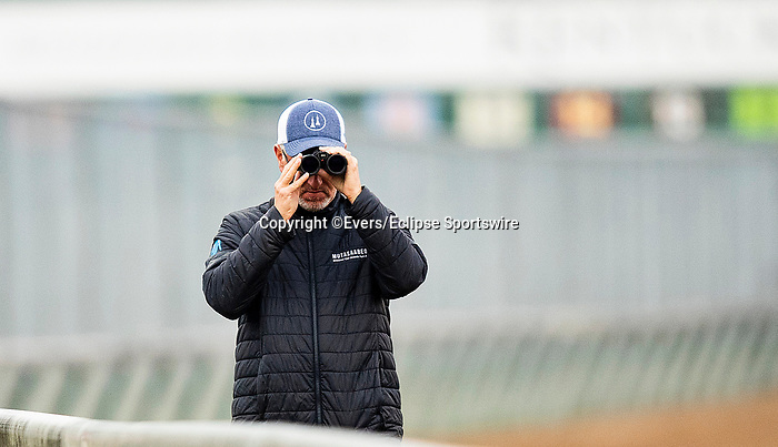 April 25, 2021: Trainer, Todd Pletcher watches his horses train at Churchill Dows in Louisville, Kentucky on April 25, 2021. EversEclipse Sportswire/CSM