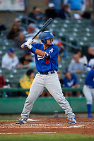 Rancho Cucamonga Quakes catcher Steve Berman (29) at bat during a California League game against the Stockton Ports at Banner Island Ballpark on May 16, 2018 in Stockton, California. Rancho Cucamonga defeated Stockton 6-3. (Zachary Lucy/Four Seam Images)