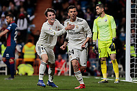 Real Madrid's Alvaro Odriozola (L) and Dani Ceballos (R) celebrate goal during La Liga match between Real Madrid and SD Huesca at Santiago Bernabeu Stadium in Madrid, Spain. March 31, 2019. (ALTERPHOTOS/A. Perez Meca)<br /> Liga Campionato Spagna 2018/2019<br /> Foto Alterphotos / Insidefoto <br /> ITALY ONLY