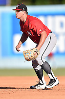 Kannapolis Intimidators first baseman Corey Zangari (14) reacts to the play during game one of a double header against the Asheville Tourists at McCormick Field on May 21, 2016 in Asheville, North Carolina. The Tourists defeated the Intimidators in game one 3-2. (Tony Farlow/Four Seam Images)