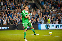Kansas City, KS - Wednesday August 9, 2017: Tim Melia celebrates during a Lamar Hunt U.S. Open Cup Semifinal match between Sporting Kansas City and the San Jose Earthquakes at Children's Mercy Park.