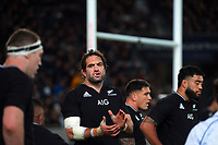NZ caotain Sam Whitelock encourages his team during the Bledisloe Cup rugby match between the New Zealand All Blacks and Australia Wallabies at Eden Park in Auckland, New Zealand on Saturday, 7 August 2021. Photo: Dave Lintott / lintottphoto.co.nz
